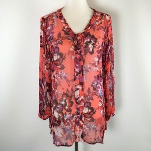 Lucky Brand Blouse  Semi Sheer Laced Up Neck